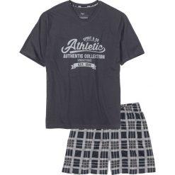 Piżamy męskie: Piżama z krótkimi spodenkami bonprix nocny niebieski – szary z nadrukiem