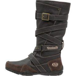 Dockers by Gerli Kozaki dark brown. Brązowe buty zimowe damskie Dockers by Gerli, z materiału, na wysokim obcasie. Za 219,00 zł.