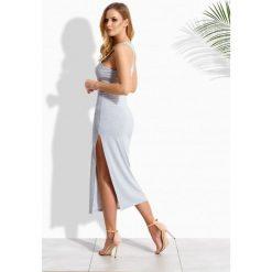 Bokserki damskie: Elegancka długa sukienka w typie bokserki jasnoszary melanż