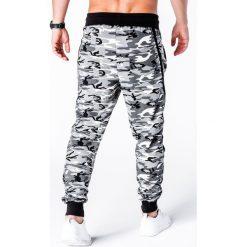 SPODNIE MĘSKIE DRESOWE P183 - CZARNE/CAMO. Zielone spodnie dresowe męskie marki Ombre Clothing, na zimę, m, z bawełny, z kapturem. Za 49,00 zł.