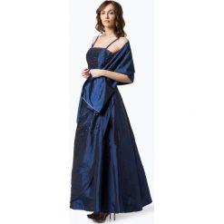 Sukienki: Luxuar Fashion – Damska sukienka wieczorowa z etolą, niebieski