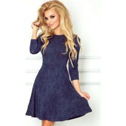 Paulina Rozkloszowana sukienka z rękawkiem. Niebieskie sukienki na komunię numoco, s, z jeansu, rozkloszowane. Za 129,99 zł.