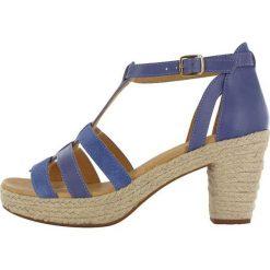 """Sandały damskie: Skórzane sandały """"Coconut"""" w kolorze niebiesko-beżowym"""