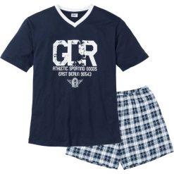 Piżama z krótkimi spodenkami bonprix ciemnoniebiesko-biały. Białe piżamy męskie marki B'TWIN, m, z elastanu, z krótkim rękawem. Za 44,99 zł.