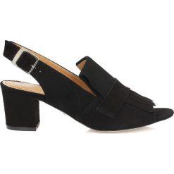 Rzymianki damskie: Czarne sandały peep toe