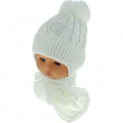 Czapka niemowlęca z szalikiem CZ+S 149C. Szare czapeczki niemowlęce Proman. Za 39,76 zł.