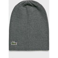 Lacoste - Czapka. Szare czapki z daszkiem męskie Lacoste, z dzianiny. W wyprzedaży za 159,90 zł.