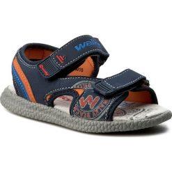 Sandały męskie skórzane: Sandały WALKY – CP69-6010 Granatowy