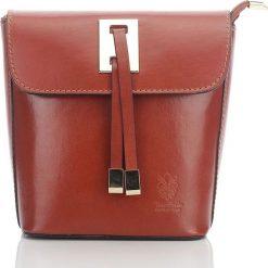 Kuferki damskie: Włoska elegancka skórzana torebka kuferek LAWRENCE jasny brąz