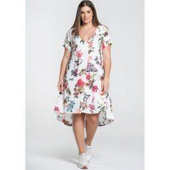 Długie sukienki: Rozkloszowana sukienka z kwiecistym nadrukiem, krótki rękaw