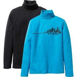Odzież chłopięca: Shirt z golfem (2 części) bonprix czarny + turkusowy z nadrukiem