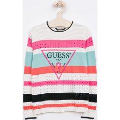 Guess Jeans - Sweter dziecięcy 118-175 cm. Szare swetry dziewczęce Guess Jeans, z bawełny, z okrągłym kołnierzem. Za 219,90 zł.