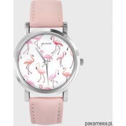 Zegarki damskie: Zegarek – Flamingi – pudrowy róż, skórzany