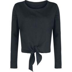 Bluzki asymetryczne: Forplay Knotted Cropped Sweater Bluza damska czarny
