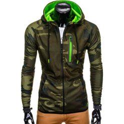 BLUZA MĘSKA ROZPINANA Z KAPTUREM B747 - ZIELONA/MORO. Zielone bluzy męskie rozpinane marki Ombre Clothing, m, moro, z bawełny, z kapturem. Za 69,00 zł.