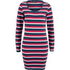 Sukienki: Sukienka shirtowa ze stretchem, długi rękaw, z nadrukiem bonprix czerwono-ciemnoniebiesko-biały w paski