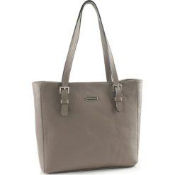 Torebki klasyczne damskie: Skórzana torebka w kolorze szarym – (S)40 x (W)30 x (G)13 cm