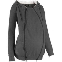 Bluza rozpinana ciążowa z wstawką niemowlęcą na nosidełko i miękką spodnią stroną bonprix antracytowy melanż. Szare bluzy ciążowe bonprix, melanż, z materiału. Za 149,99 zł.