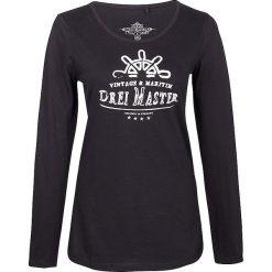 Koszulka w kolorze czarnym. Czarne bluzki longsleeves Dreimaster, xs, z nadrukiem, z bawełny, z okrągłym kołnierzem. W wyprzedaży za 64,95 zł.