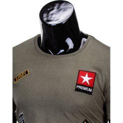 T-shirty męskie: T-SHIRT MĘSKI Z NADRUKIEM S818 – KHAKI