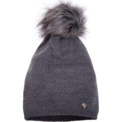 Czapki damskie: Szara ciepła czapka QUIOSQUE