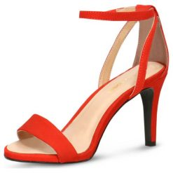 Sandały SAFA. Czerwone sandały trekkingowe damskie Gino Rossi, z nubiku, na wysokim obcasie, na obcasie. Za 229,90 zł.