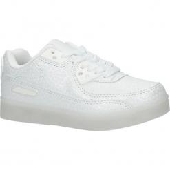 Białe buty sportowe sznurowane świecące led Casu K-158. Białe buciki niemowlęce Casu, na sznurówki. Za 79,99 zł.