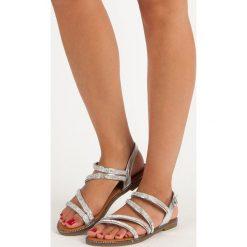 Rzymianki damskie: DONITA srebrne kobiece sandały szare