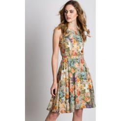 Sukienki hiszpanki: Sukienka w kwiaty odcinana w talii z podszewką  BIALCON