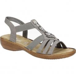 Szare sandały z ozdobami Rieker 60800-42. Czarne sandały damskie marki Rieker, z materiału. Za 218,99 zł.