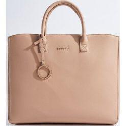Torebki klasyczne damskie: Duża torebka z odpinanym paskiem - Beżowy