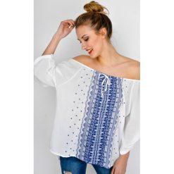 Bluzki asymetryczne: Bluzka koszulowa ze wzorem