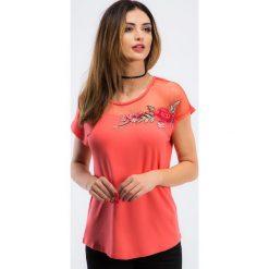 Bluzki damskie: Koralowa bluzka z haftem TA6186