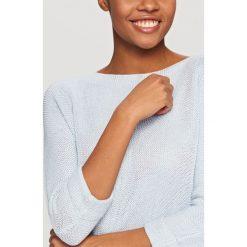Kardigany damskie: Sweter z miękkiej dzianiny – Niebieski