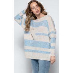 Swetry damskie: Beżowy Luźny Sweter w Paski z Naszytą Kieszenią