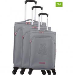 """Walizki (3 szt.) """"Teddy Bear"""" w kolorze srebrnym. Czarne walizki marki Jack Wolfskin, w paski, z materiału, małe. W wyprzedaży za 673,95 zł."""
