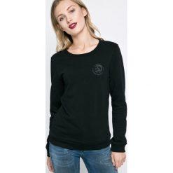 Diesel - Bluza. Czarne bluzy damskie Diesel, l, z nadrukiem, z bawełny, bez kaptura. Za 229,90 zł.