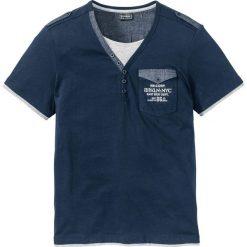 T-shirt Slim Fit bonprix ciemnoniebieski. Niebieskie t-shirty męskie z nadrukiem marki bonprix, m, z kontrastowym kołnierzykiem. Za 44,99 zł.