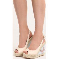 Beżowe Sandały Butterfly. Brązowe sandały damskie marki Born2be, z materiału, na koturnie. Za 59,99 zł.