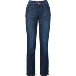 Dżinsy ocieplane ze stretchem STRAIGHT bonprix ciemnoniebieski. Niebieskie jeansy damskie marki bonprix, z nadrukiem. Za 159,99 zł.