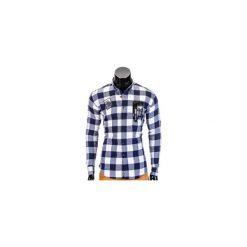 KOSZULA MĘSKA W KRATĘ Z DŁUGIM RĘKAWEM K369 - GRANATOWA. Brązowe koszule męskie na spinki marki Ombre Clothing, m, z aplikacjami, z kontrastowym kołnierzykiem, z długim rękawem. Za 39,00 zł.