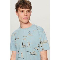 T-shirty męskie z nadrukiem: T-shirt z wakacyjnym nadrukiem – Niebieski