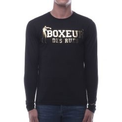 BOXEUR Koszulka długi rękaw czarno-złota r.M (BXE-2809F). Czarne koszulki sportowe męskie BOXEUR, m. Za 91,87 zł.