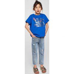 Mango Kids - Top dziecięcy Sparkle 110-164 cm. Różowe bluzki dziewczęce bawełniane marki Mayoral, z okrągłym kołnierzem. Za 49,90 zł.