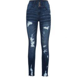"""Dżinsy z wysoką talią """"destroyed"""" bonprix ciemny denim. Niebieskie jeansy damskie skinny marki House, z jeansu. Za 109,99 zł."""