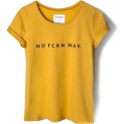 Bluzki, topy, tuniki: T-shirt musztardowy NO FCKN WAY.