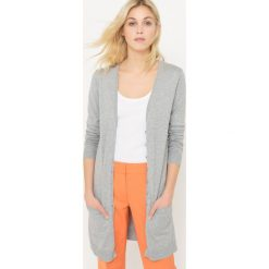 Sweter rozpinany z długim rękawem, bawełna. Szare kardigany damskie marki La Redoute Collections, m, z bawełny, z kapturem. Za 73,46 zł.