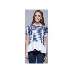 Bluzki damskie: Bawełniana bluzka z ozdobną falbanką gr.paski  H012