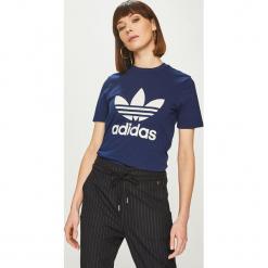 Adidas Originals - Top. Szare topy damskie adidas Originals, z nadrukiem, z bawełny, z okrągłym kołnierzem. Za 129,90 zł.