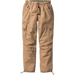 Spodnie bojówki Loose Fit Straight bonprix wielbłądzia wełna. Brązowe bojówki męskie bonprix, w paski, z wełny. Za 79,99 zł.